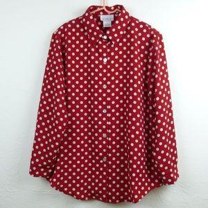 SUSAN GRAVER Red Polka Dot Button Shirt L